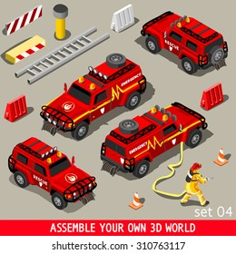 Fireman Flame Red Rescue SUV Vehicle 3D Flat Vector Icon Set First Aid Equipment  Firefighter Stop Arson. Assemble your Own 3D World Vector