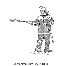 Fireman hand drawn vector illustration isolated on white background
