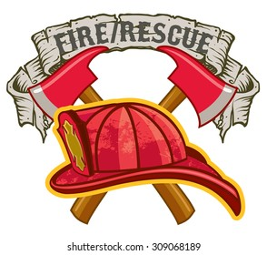 Fireman hat and crossed axes with Fire Rescue Banner symbol
