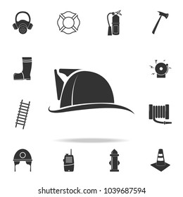 Fireman hat icon. Detailed set icons of firefighter element icons. Premium quality graphic design. One of the collection icons for websites, web design, mobile app on white background