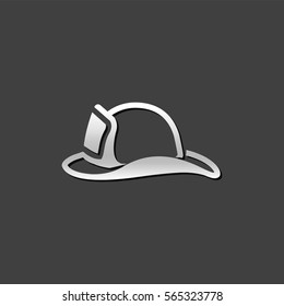 Fireman hat icon in metallic grey color style. Helmet firefighter equipment