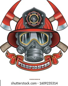 fireman helmet, gas mask, crossed axes and text firefighter