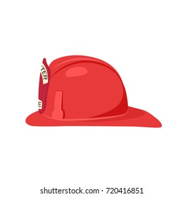 Fireman helmet side view vector illustration isolated on white. Hat of firefighter with metal emblem, red fireman cup, uniform headwear