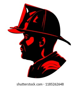 Fireman with Helmet Two Tone Side Profile