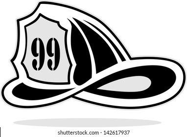 fireman helmet, vector illustration