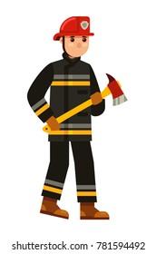 fireman holding fire axe in flat style vector illustration