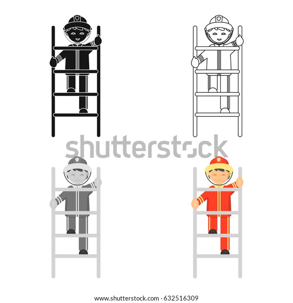 Fireman icon cartoon. Single silhouette fire equipment icon from the big fire Department cartoon - stock vecto - stock vecto - stock vecto - stock vector