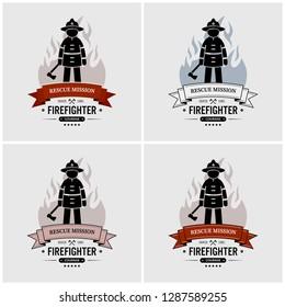 Fireman logo design. Vector artwork of fire station or fire department.