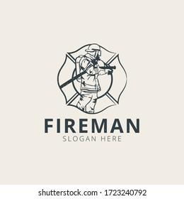 Fireman logo template Premium Vector