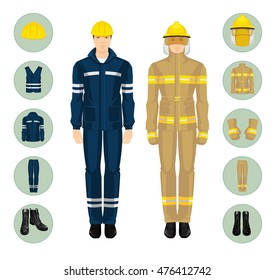 Fireman and man worker in professional uniform. Safety clothes and helmet.