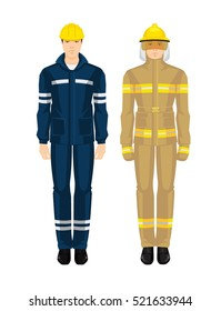 Fireman and man worker in professional uniform.