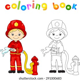 Fireman in a red uniform and helmet with a hose in his hand. Coloring book. Vector illustration