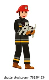 fireman rescue a cute dog in flat style vector illustration