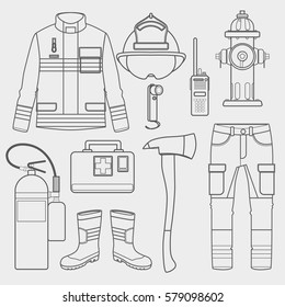 fireman uniform and first help equipment set and instruments.