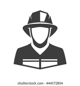 Fireman vector icon. Illustration of fireman isolated on white background in flat style. Icon of man in fireman uniform.