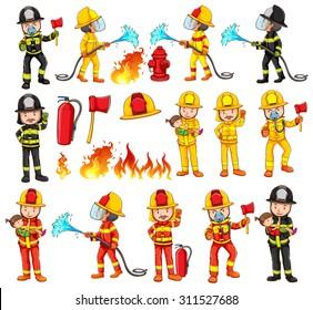 Firemen and equipments set illustration
