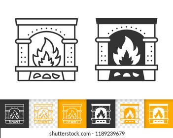 Fireplace black linear and silhouette icons. Thin line christmas time sign. Open Fire outline pictogram isolated white, color, transparent background. Vector Icon shape Fireplace simple symbol closeup