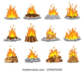 Fireplace campfire different types. Burning wood collection, travel and adventure symbol. Vector bonfire or woodfire in cartoon flat style set. A tourist bonfires in the diferent form of stack