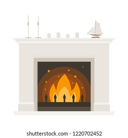 Fireplace in classic style on a white background. Cozy home. Family hearth. Vector flat illustration