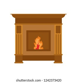 Fireplace. The fire. White background. Vector illustration. EPS 10.