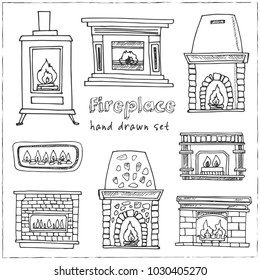 Fireplace hand drawn doodle set. Sketches. Vector illustration for design and packages product. Symbol collection.