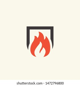 Fireplace icon. Flame illustration. Vector illustration.