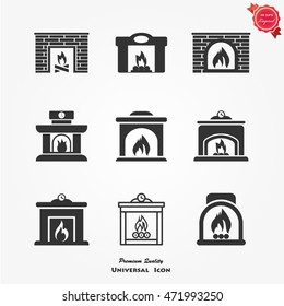 Fireplace icons set vector flat sign isolated on white background