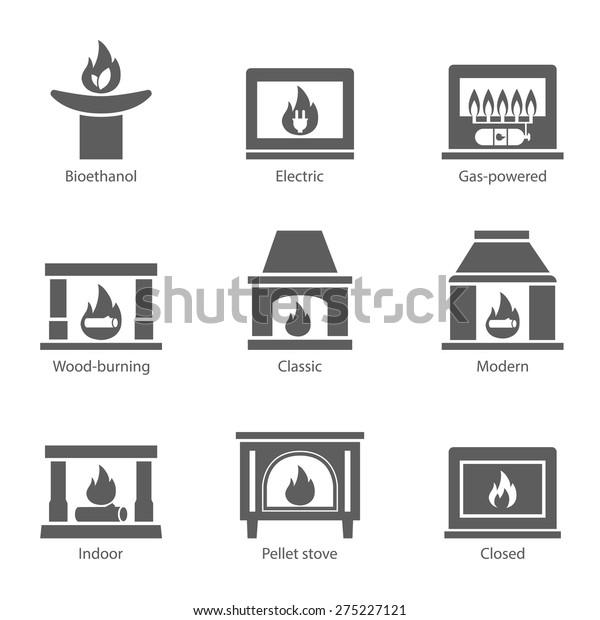Kamin Symbole Setzen Vektorflachzeichen Einzeln Auf Weißem