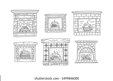 The fireplace made of refractory stone or brick and tile is made in the old style, oak or pine firewood and boards burn and crack inside, creating warmth and comfort. Vector line drawn by hands.