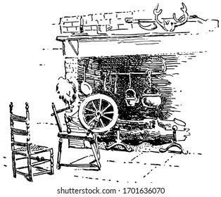 Fireplace, metal , vintage engraved illustration.