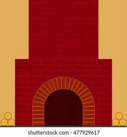 fireplace red brick
