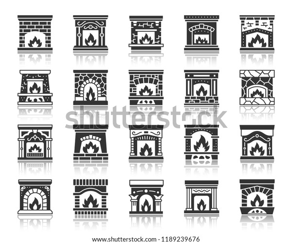 Fireplace Silhouette Icons Set Monochrome Web Stock Vector (Royalty