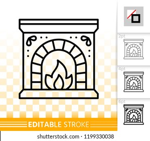 Fireplace thin line icon. Outline sign of mantelpiece. Fireside linear pictogram with different stroke width. Simple vector symbol on transparent background. Chimney editable stroke icon without fill