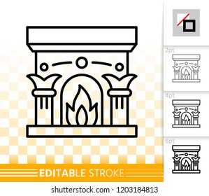 Fireplace thin line icon. Outline web christmas time sign. Open Fire linear pictogram with different stroke width. Flame simple vector transparent symbol. Fireside editable stroke icon without fill