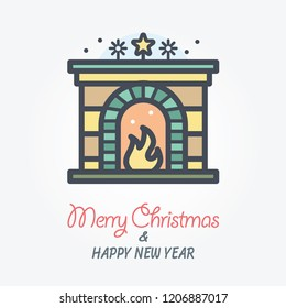 fireplace vector icon