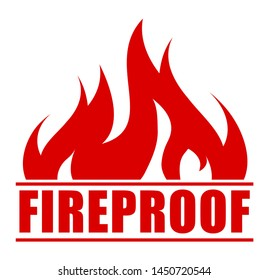 Fireproof icon, logo design, sign, red label with blazing flame.