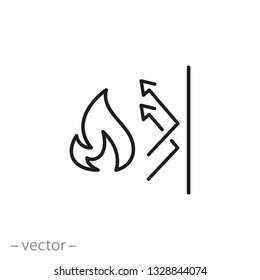 fireproofing icon, fire insulation linear sign on white background - editable vector illustration eps10