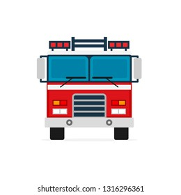 Firetruck front view icon. Clipart image isolated on white background