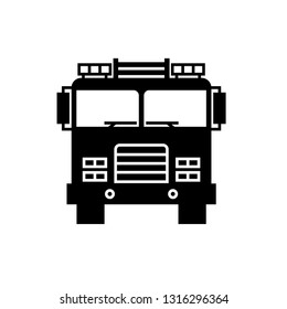 Firetruck front view silhouette icon. Clipart image isolated on white background
