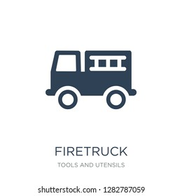 firetruck icon vector on white background, firetruck trendy filled icons from Tools and utensils collection, firetruck vector illustration
