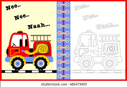firetruck vector cartoon illustration, coloring page or book