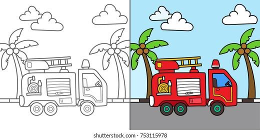 Firetruck vector cartoon illustration, coloring book