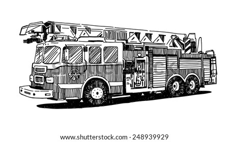 firetruck vector drawing on white background stock vector royalty