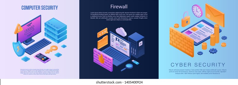 Firewall banner set. Isometric set of firewall vector banner for web design