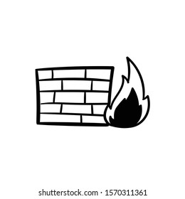 firewall doodle icon vector hand drawing