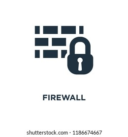 Firewall icon. Black filled vector illustration. Firewall symbol on white background. Can be used in web and mobile.