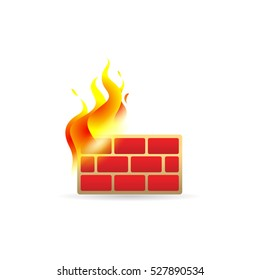 Firewall icon in color. Computer network internet protection