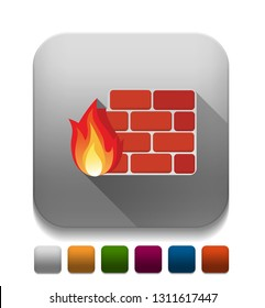 firewall icon With long shadow over app button