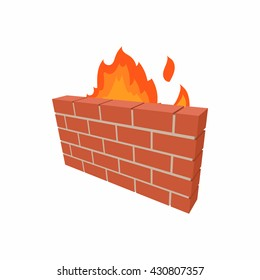 Firewall icon. Wall in fire cartoon icon. Illustration of firewall vector icon isolated on white background