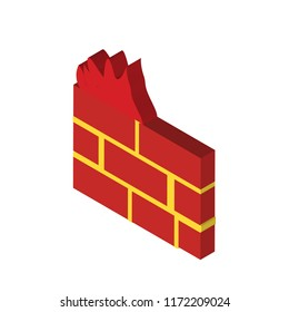 Firewall isometric left top view 3D icon